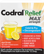 CODRAL® RELIEF® MAX Strength Cold & Flu + Decongestant Hot Drink
