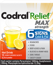 CODRAL® RELIEF® MAX Strength 6 signs® Cold & Flu Hot Drink